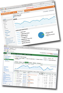 Google Adwords and Analytics screenshots